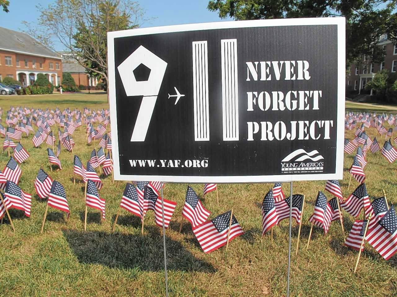 Students in the Young Americans for Freedom club at Wheaton College set up a display of 2,977 flags, one for each person who was killed in the Sept. 11 terrorist attacks.