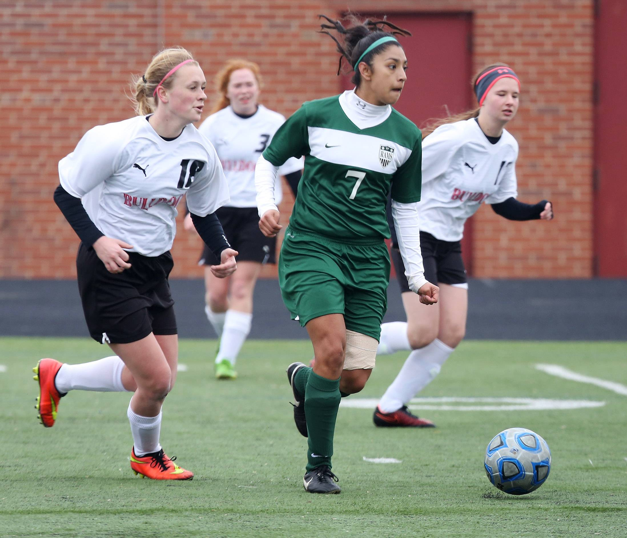 Forward Karleen Gomez, here competing for Grant, is off to quick start with Augustana's womens' soccer team this fall.