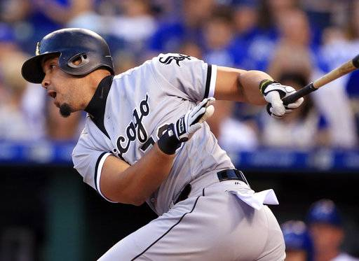 Chicago White Sox Jose Abreu hits an RBI single off Kansas City Royals starting pitcher Jason Hammel during the first inning of a baseball game at Kauffman Stadium in Kansas City, Mo., Monday, Sept. 11, 2017. (AP Photo/Orlin Wagner)