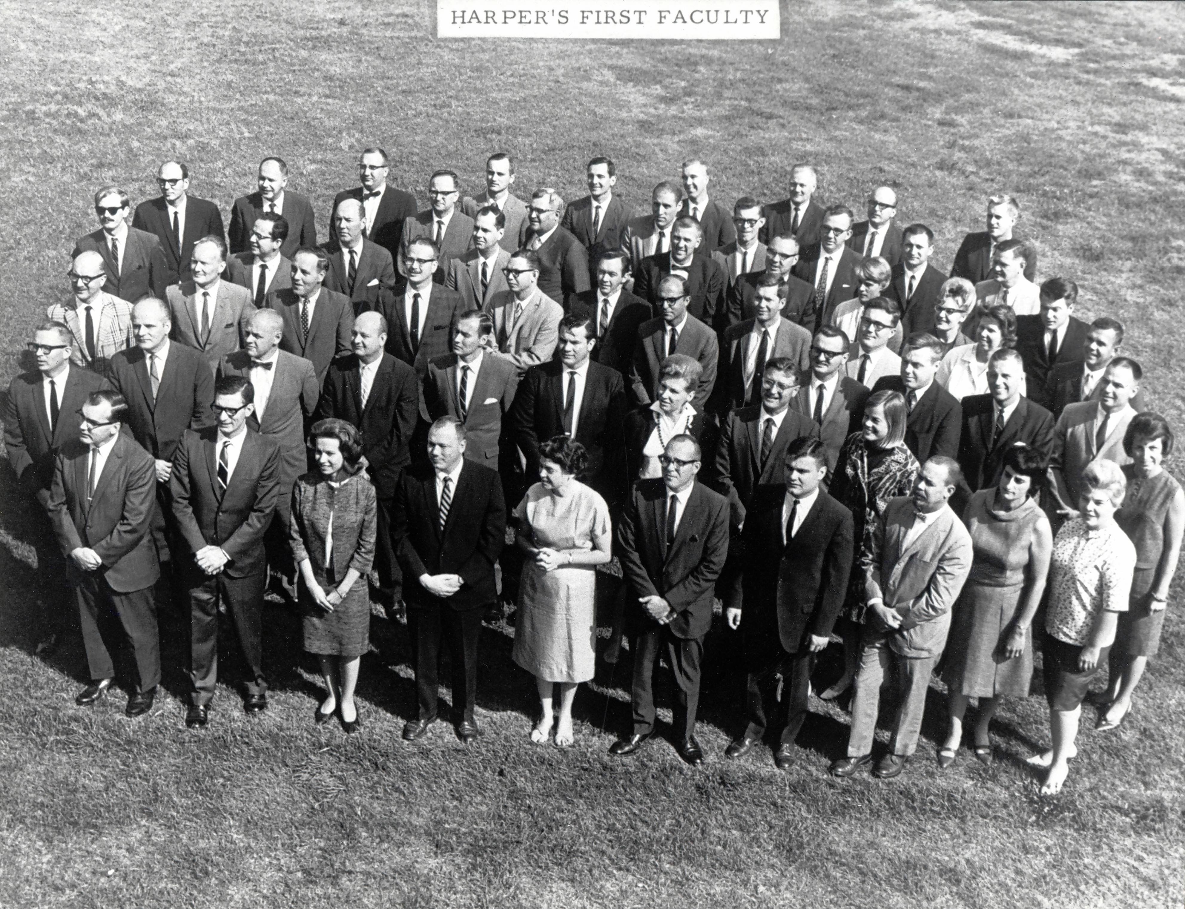 Harper College's 44 original faculty members taught classes starting in September 1967 at a temporary campus at Elk Grove High School.