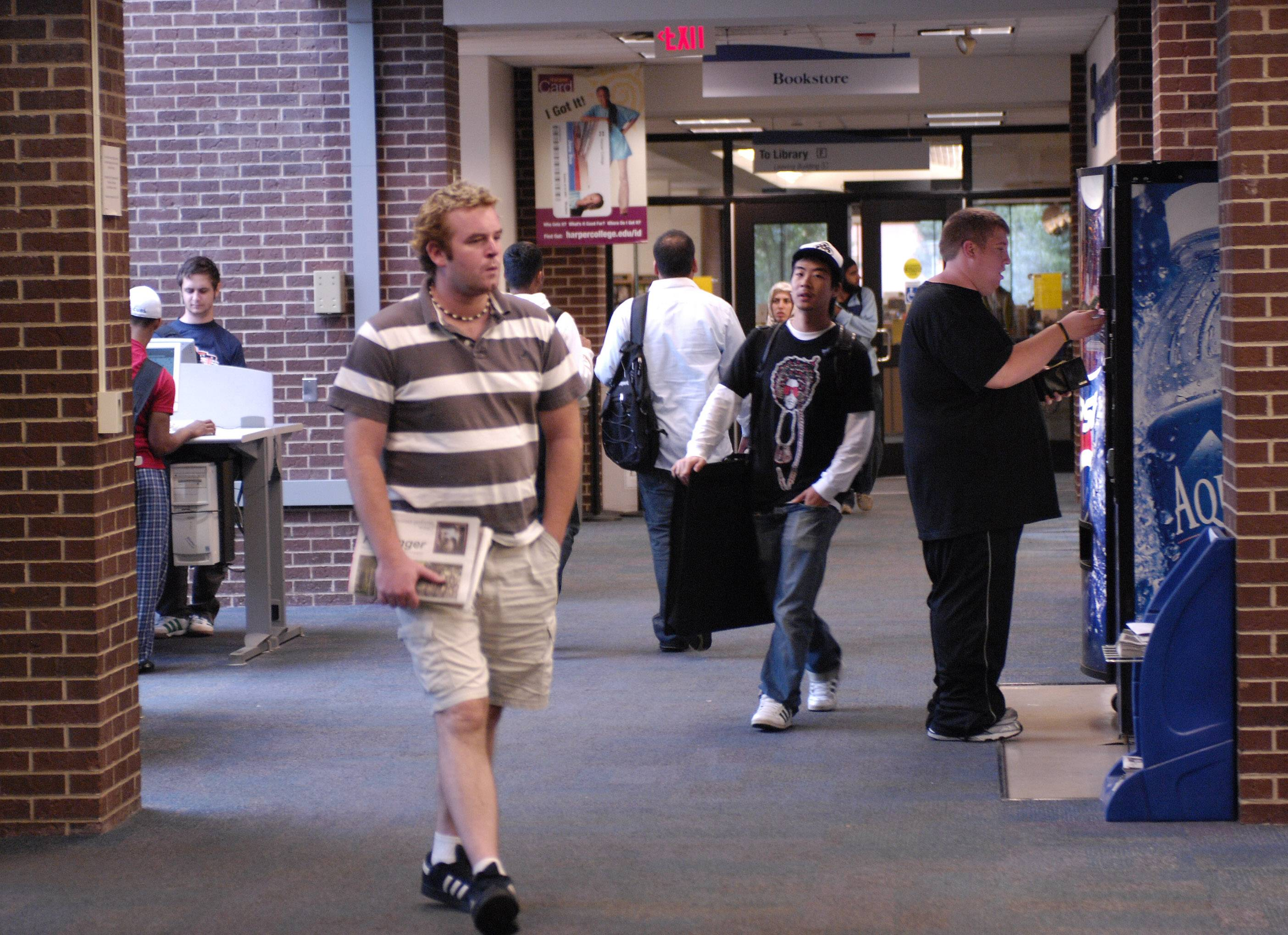 Students walk from class to class at Harper College in Palatine.