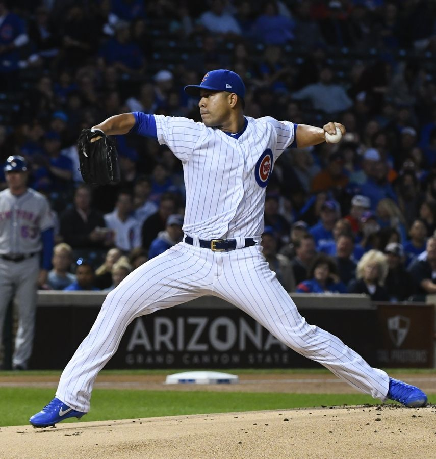 Chicago Cubs starting pitcher Jose Quintana (62) delivers against the New York Mets during the first inning of a baseball game in Chicago, Tuesday, Sept. 12, 2017.