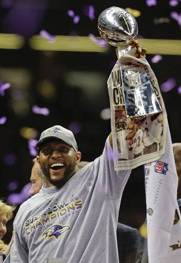 FILE - In this Sunday, Feb. 3, 2013 file photo, Baltimore Ravens linebacker Ray Lewis (52) holds up the Vince Lombardi Trophy after defeating the San Francisco 49ers 34-31 in the NFL Super Bowl XLVII football game in New Orleans. Star linebackers Ray Lewis and Brian Urlacher and game-breaking wide receiver Randy Moss are among 11 first-year eligible players for the Pro Football Hall of Fame. (AP Photo/Julio Cortez, File)
