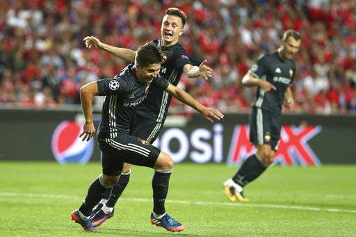 CSKA's Timur Zhamaletdinov celebrates his goal against Benfica during the Champions League group A soccer match between SL Benfica and CSKA Moscow at the Luz stadium in Lisbon, Tuesday, Sept. 12, 2017. (AP Photo/Armando Franca)