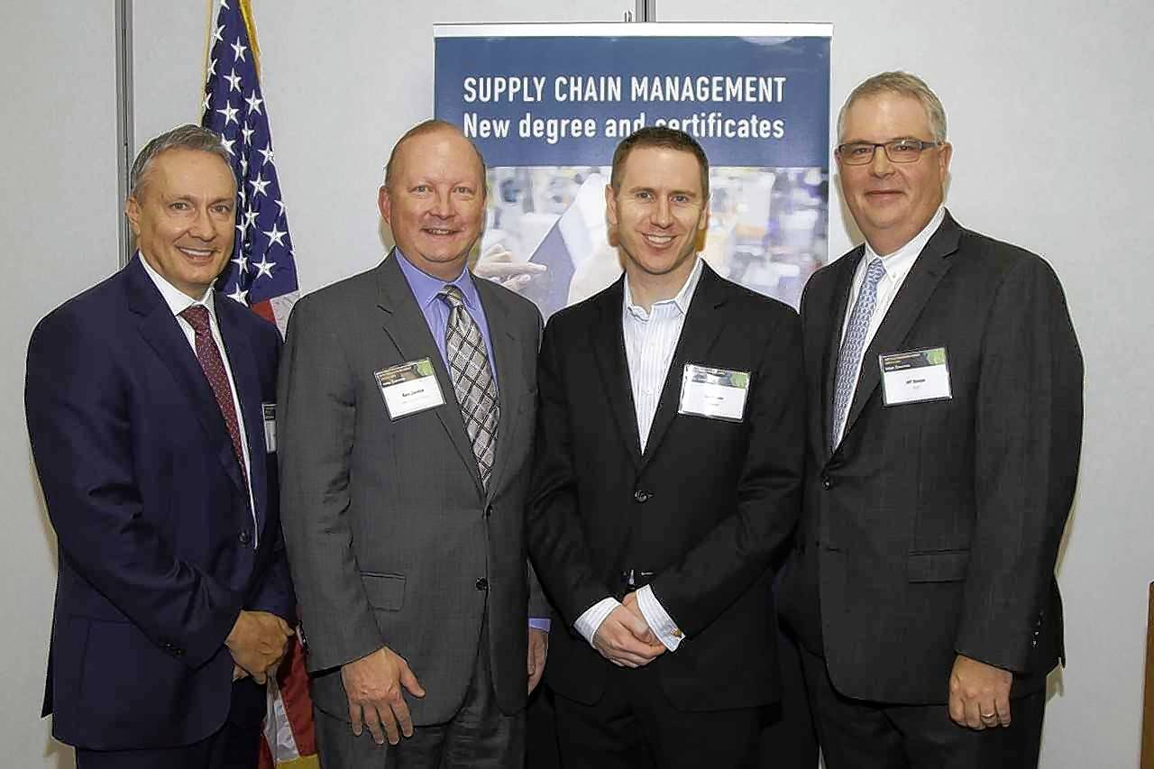CLC launched a new Supply Chain Management Program with Interim President Rich Haney, left, Lake County Partners President & CEO Kevin Considine, Grainger Director of Distribution Center Engineering and Projects Dan Goudey and Jeff Stomper, interim assistant vice president of educational affairs and dean of the business and social sciences division.