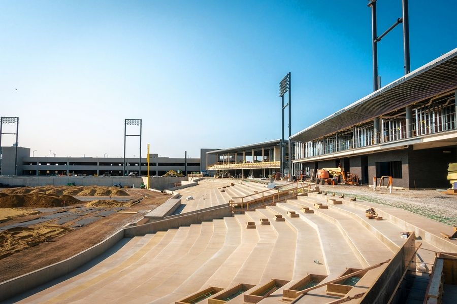 Construction is underway on the $62.9 million Impact Field, where the Chicago Dogs will begin playing next May in the 12-team American Association of Independent Professional Baseball.