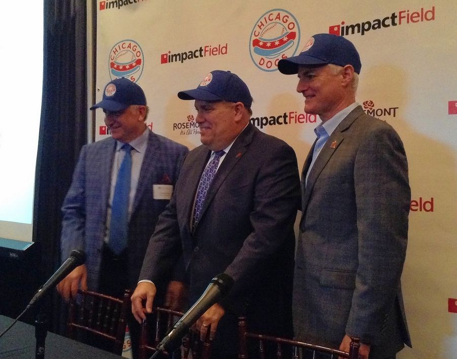 Impact Networking CEO Frank Cucco, from left, Rosemont Mayor Brad Stephens, and Chicago Dogs co-owner Shawn Hunter announced Wednesday that the new baseball stadium in town will be called Impact Field. First pitch is set for next May.