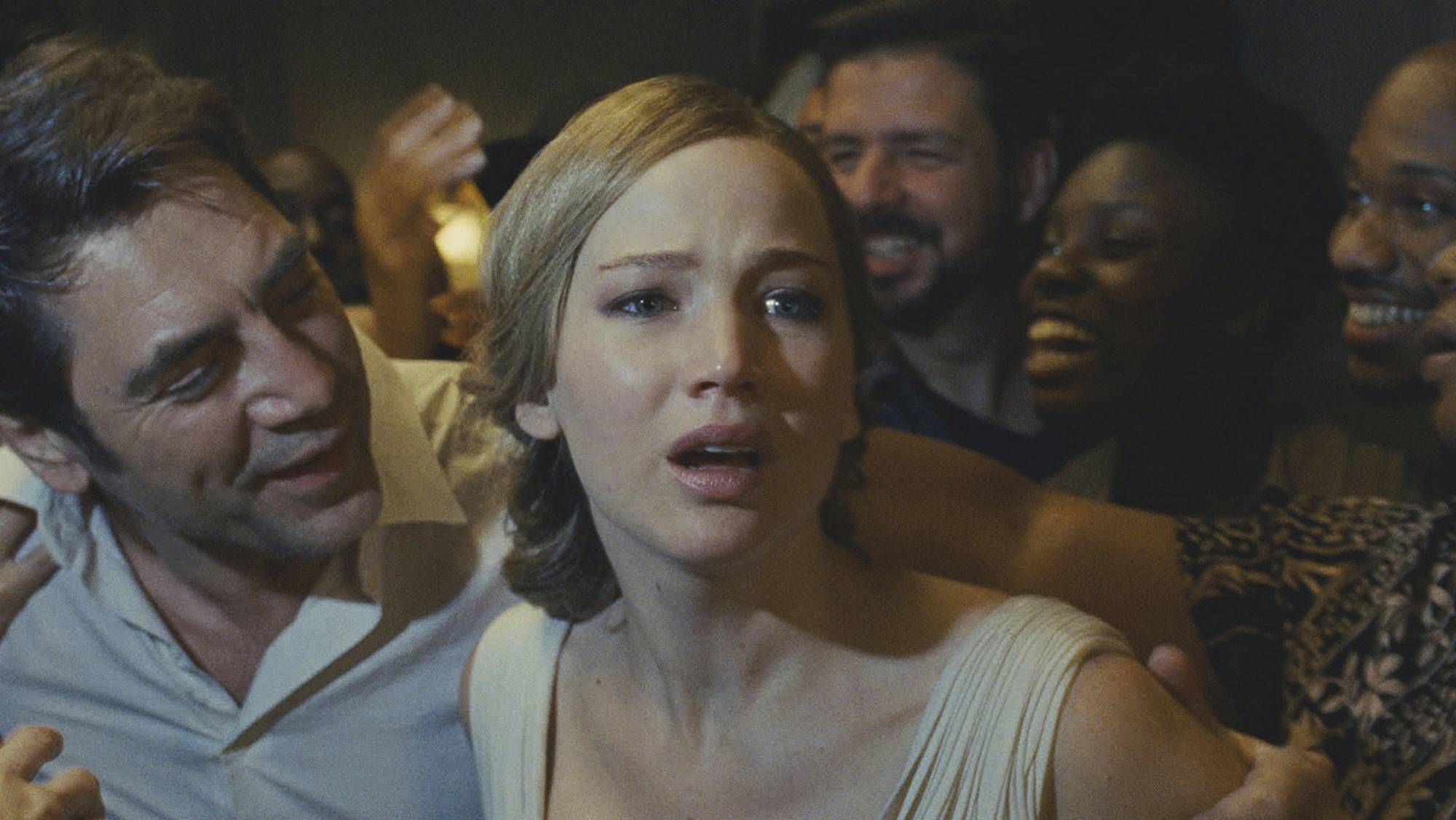 "Mother (Jennifer Lawrence) falls into a paranoia panic when uninvited guests invade her home in Darren Aronofsky's surrealistic drama ""mother!"""