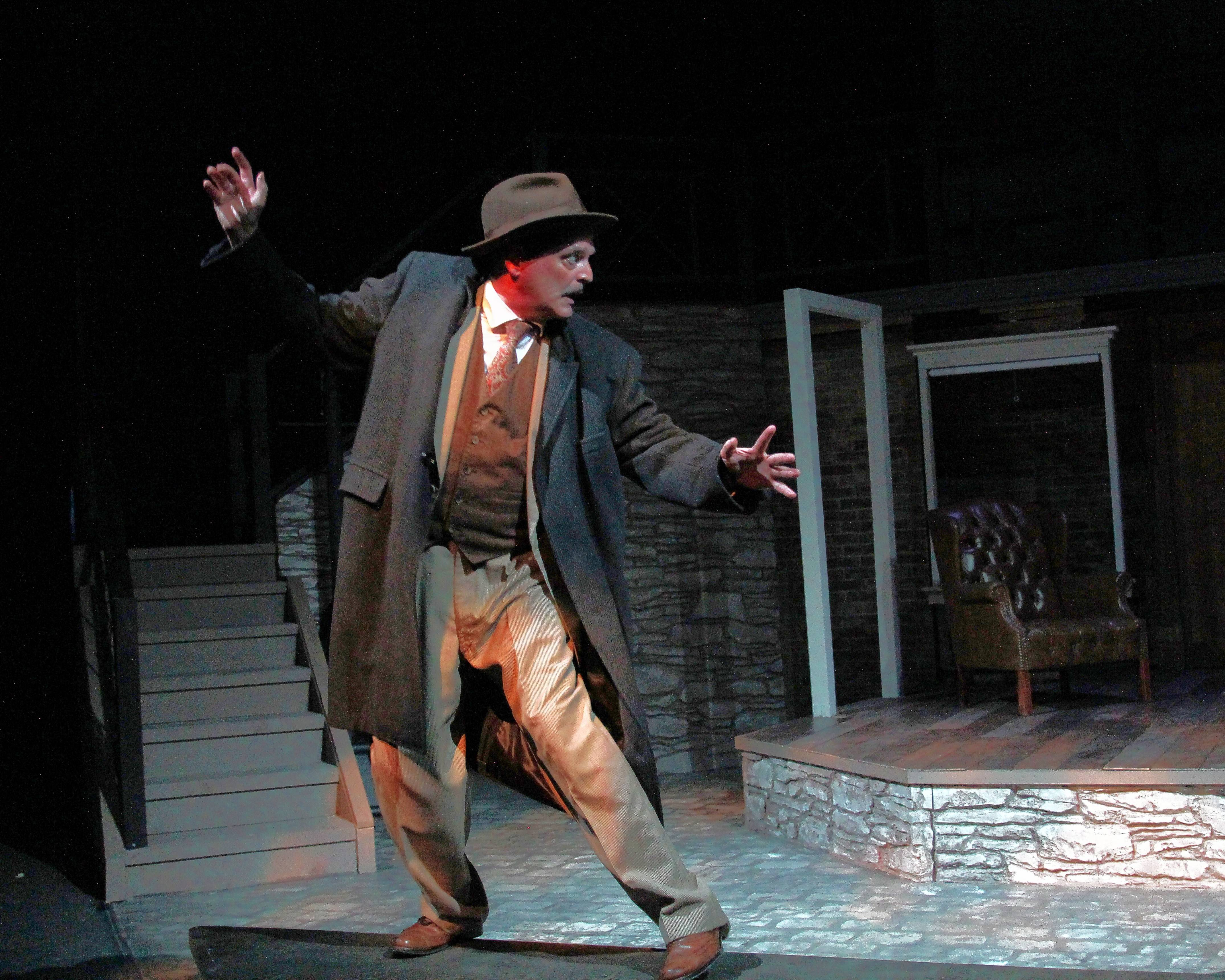 "Buffalo Theatre Ensemble member Bryan Burke stars as a lonely Londoner who has the adventure of a lifetime in ""The 39 Steps,"" adapted by Patrick Barlow from Alfred Hitchcock's film and John Buchan's novel."