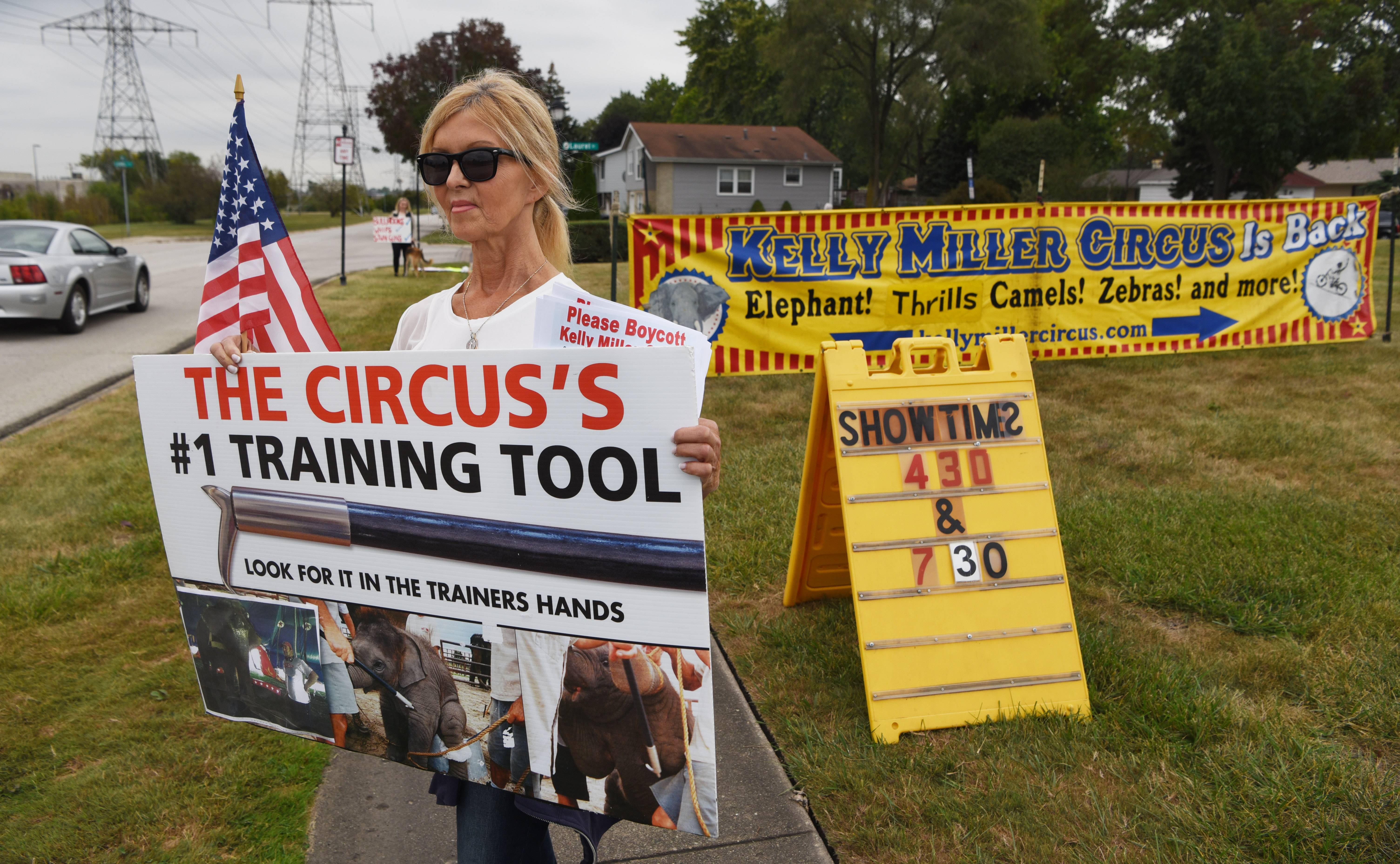 Karen Stramaglio is one of about a dozen people protesting the use of elephants and other animals at the Kelly Miller Circus in Elk Grove Village Wednesday afternoon.