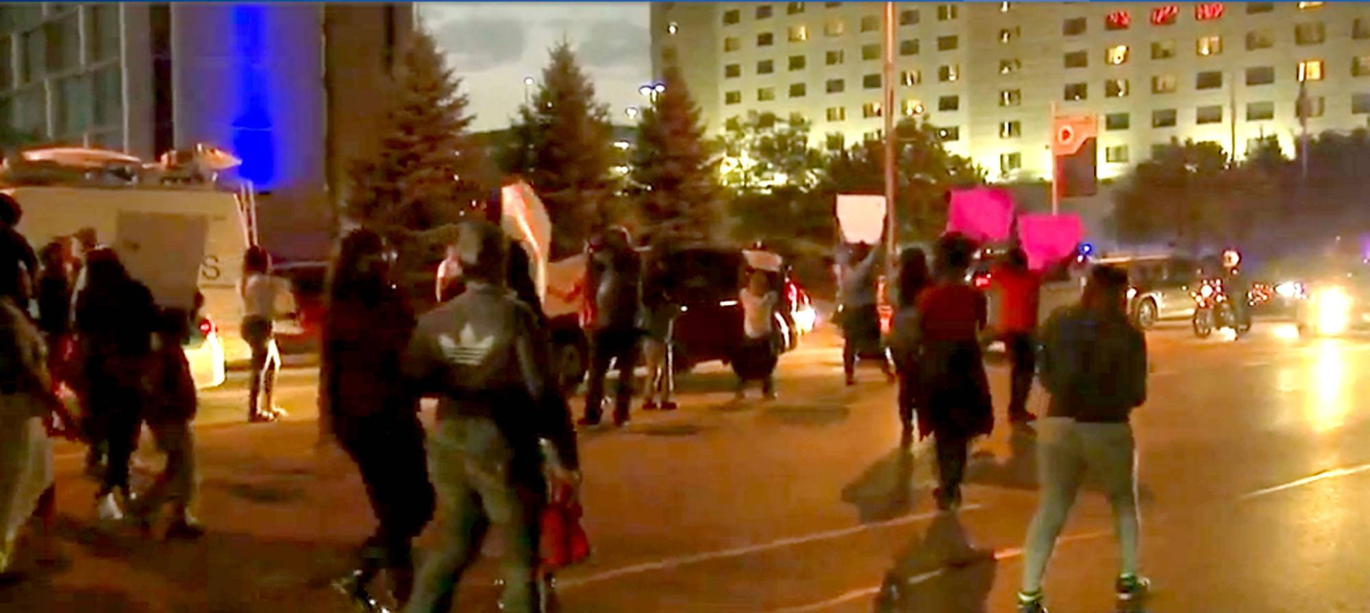 "COURTESY OF ABC 7Protesters gathered in Rosemont Wednesday night, blocking traffic as they demonstrated yelling ""shut it down"" in regards to the hotel where 19-year-old Kenneka Jenkins was discovered dead in a walk-in freezer over the weekend."