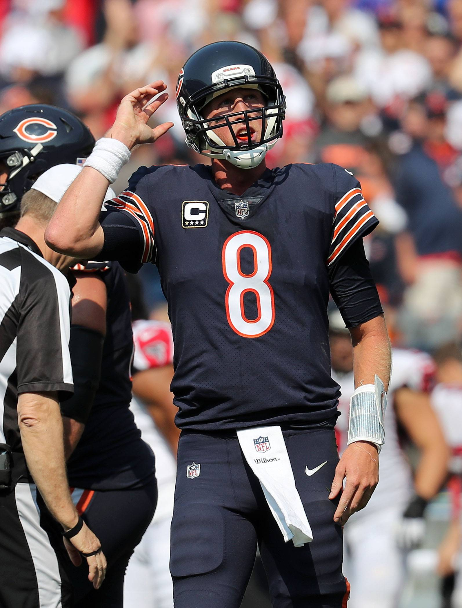 Chicago Bears quarterback Mike Glennon reacts after getting sacked to end the game during their game against the Atlanta Falcons Sunday, September 10, 2017, at Soldier Field on Chicago.