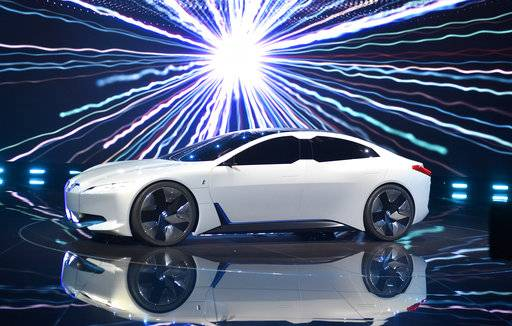 BMW i vision dynamics is presented at a BMW event during the first media day of the International Frankfurt Motor Show IAA in Frankfurt, Germany, Tuesday, Sept. 12, 2017, which runs through Sept. 24, 2017. From frighteningly fast hypercars to new electric SUVs, the Frankfurt auto show is a major event for car lovers wanting to get a glimpse of the future.
