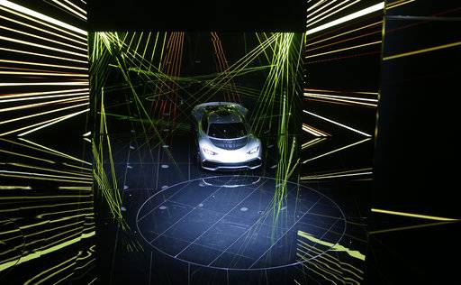 A Mercedes-AMG Project One hyper car has its world premiere during an event of German carmaker Mercedes-Benz on the eve of the opening of the International Frankfurt Motor Show IAA in Frankfurt, Germany, Monday, Sept. 11, 2017. From frighteningly fast hypercars to new electric SUVs, the Frankfurt auto show is a major event for car lovers wanting to get a glimpse of the future.