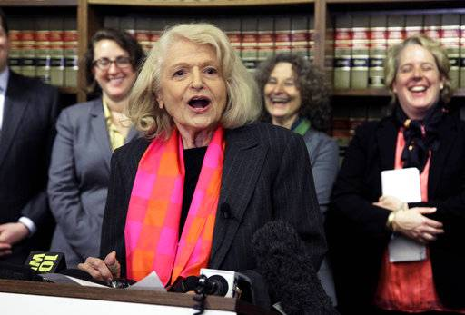 FILE - In this Oct. 18, 2012 file photo, Edith Windsor addresses a news conference at the offices of the New York Civil Liberties Union, in New York. Windsor, who brought a Supreme Court case that struck down parts of a federal law that banned same-sex marriage, died Tuesday, Sept. 12, 2017, in New York, according to her attorney. She was 88.