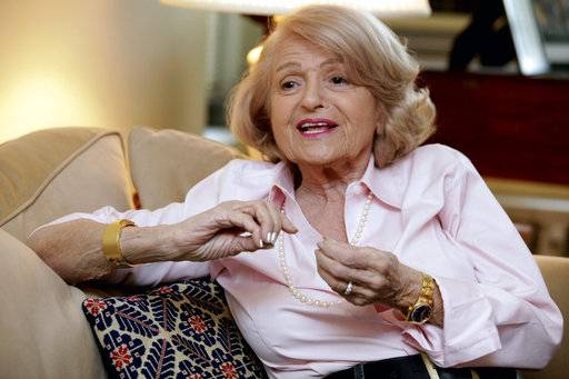 FILE - In this Dec. 12, 2012 file photo, Edith Windsor speaks during an interview in her New York City apartment. Windsor, who brought a Supreme Court case that struck down parts of a federal law that banned same-sex marriage, died Tuesday, Sept. 12, 2017, in New York, according to her attorney. She was 88.