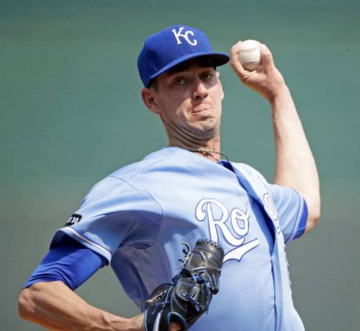 Kansas City Royals starting pitcher Eric Skoglund throws during the first inning of a baseball game against the Chicago White Sox Wednesday, Sept. 13, 2017, in Kansas City, Mo.