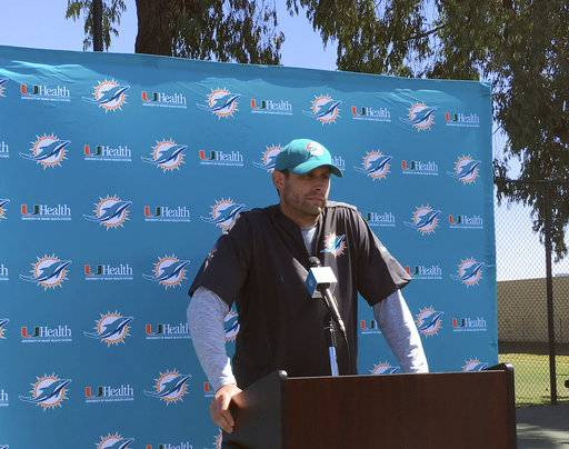 Miami Dolphins coach Adam Gase speaks with reporters before practice in Oxnard, Calif., on Wednesday, Sept. 13, 2017. The Dolphins are spending the week practicing on the California coast after leaving Miami several days early to avoid Hurricane Irma. The Dolphins open their NFL football season Sunday against the Los Angeles Chargers.