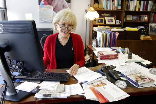 """60 Minutes"" correspondent Lesley Stahl, works in her office at the ""60 Minutes"" offices, in New York, Tuesday, Sept. 12, 2017.  CBS' ""60 Minutes,"" the newsmagazine that can credit consistency for much of its success as it enters its 50th anniversary year"