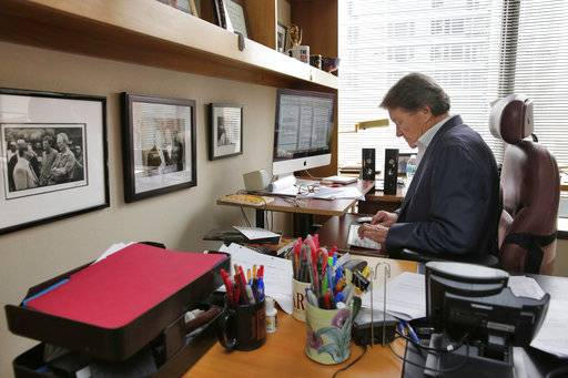 """60 Minutes"" correspondent Steve Kroft works in his office for an upcoming show, in the ""60 Minutes"" offices, in New York, Tuesday, Sept. 12, 2017.   CBS' ""60 Minutes,"" the newsmagazine that can credit consistency for much of its success as it enters its 50th anniversary year."