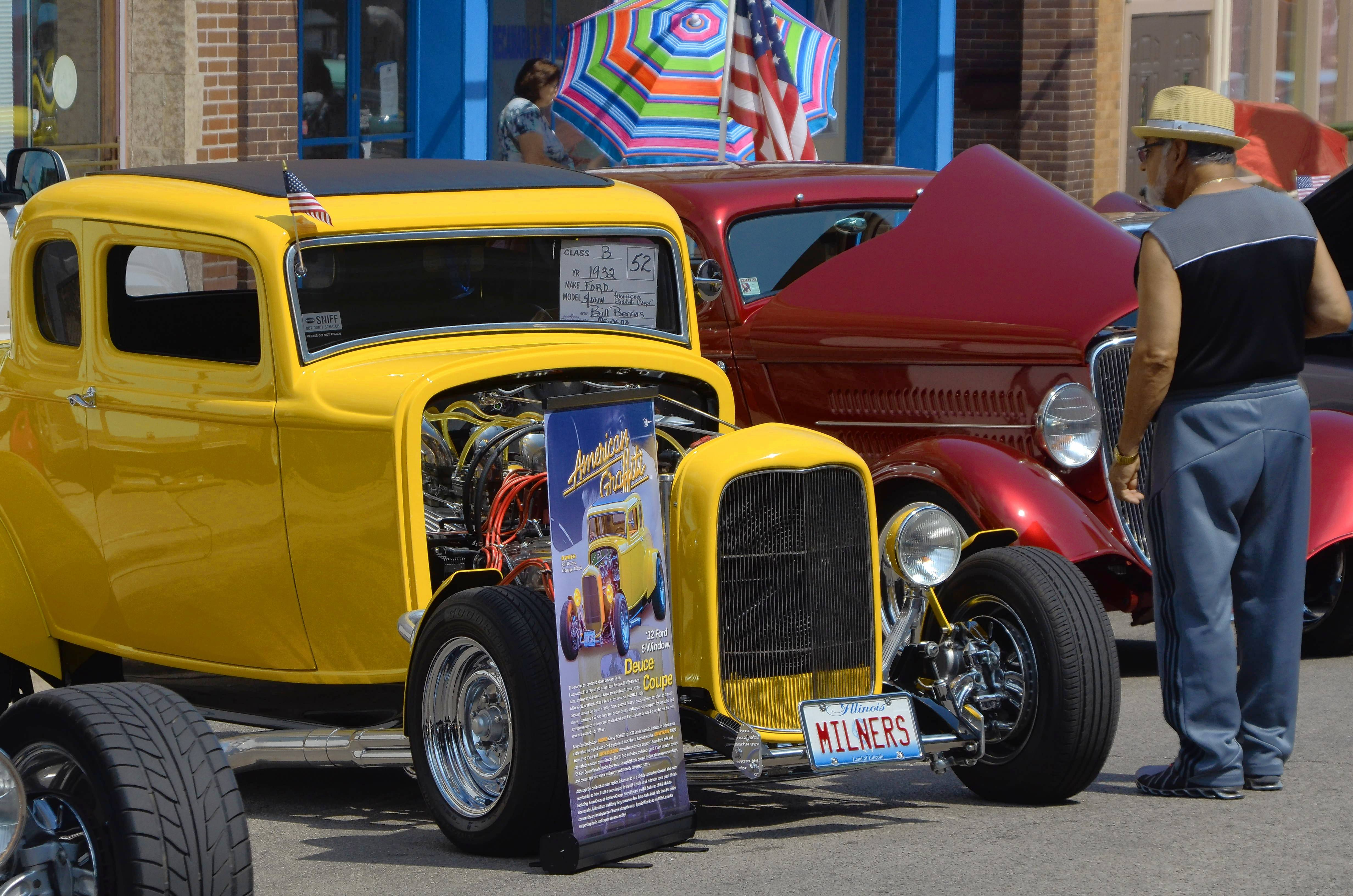 "Oswego resident Bill Berrios displayed his 1932 Ford coupe, a replica of the Ford featured in the 1973 ""American Graffiti"" movie, at the 15th annual Historic LaSalle Street Auto Show in Aurora Sunday, Aug. 20. Co-sponsors were Aurora American Legion Post 84 and Friends of the LaSalle Street Auto Show."