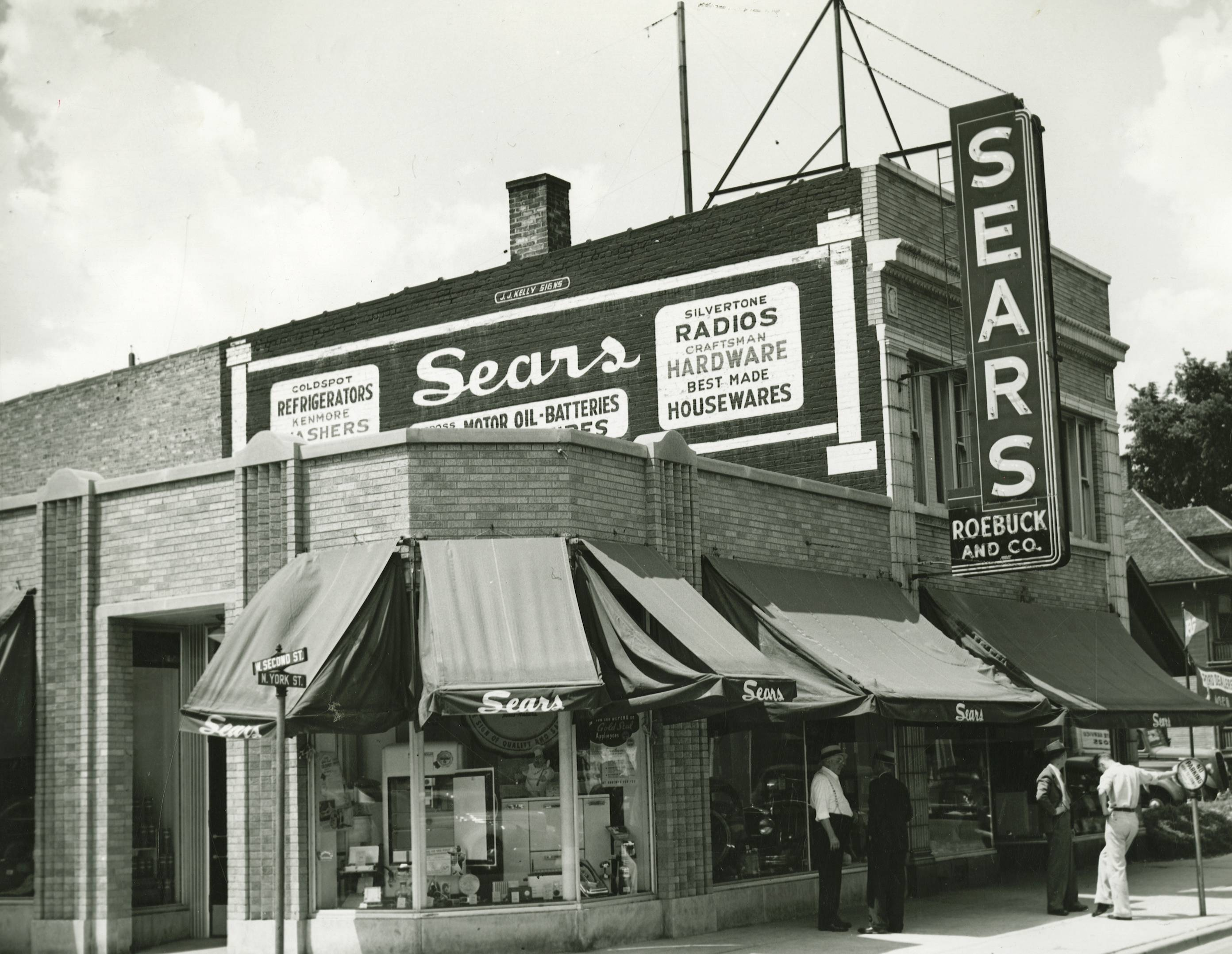 Sears Roebuck and Co. Store stood at 170 N. York Street, the northwest corner of York and Second Streets. The store was in operation circa 1937 to circa 1964.