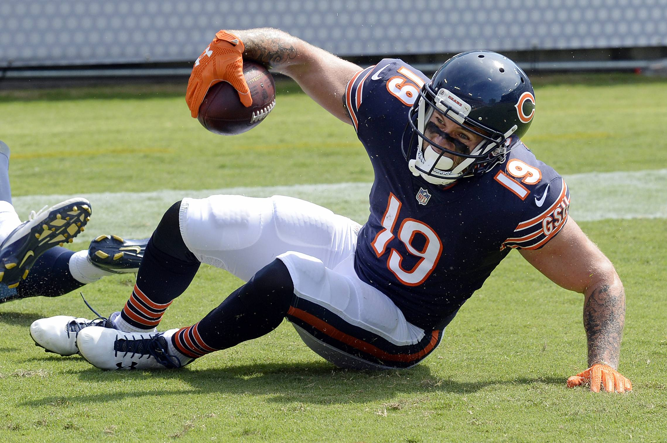 Chicago Bears wide receiver Tanner Gentry (19) catches a pass in the end zone as he scores a touchdown on a 45-yard pass play against the Tennessee Titans in the second half of an NFL football preseason game Sunday, Aug. 27, 2017, in Nashville, Tenn.