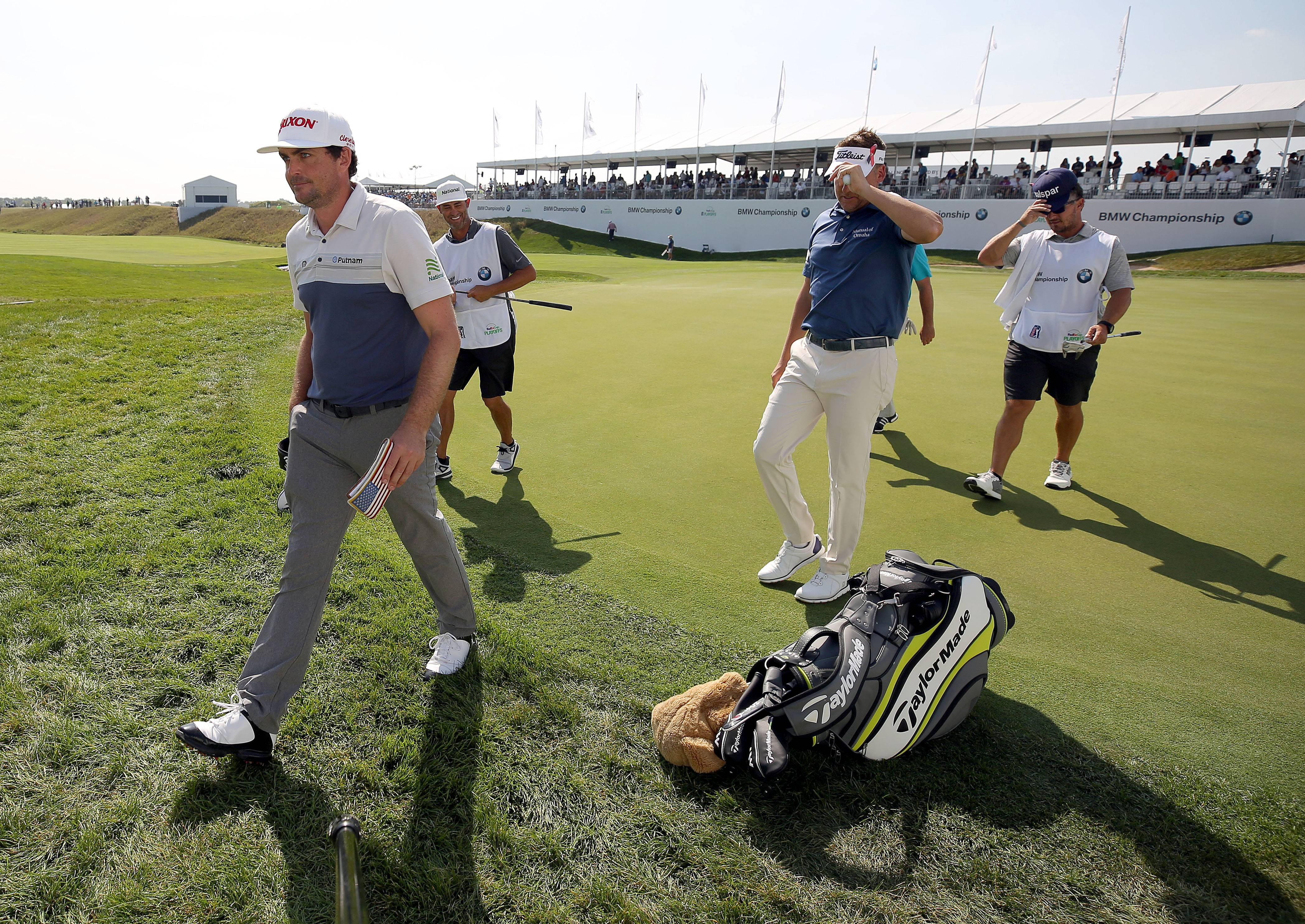 Steve Lundy/slundy@dailyherald.comKeegan Bradley walks off the 18th green during the first round of the BMW Championship at Conway Farms Golf Course in Lake Forest Thursday, September 14, 2017.