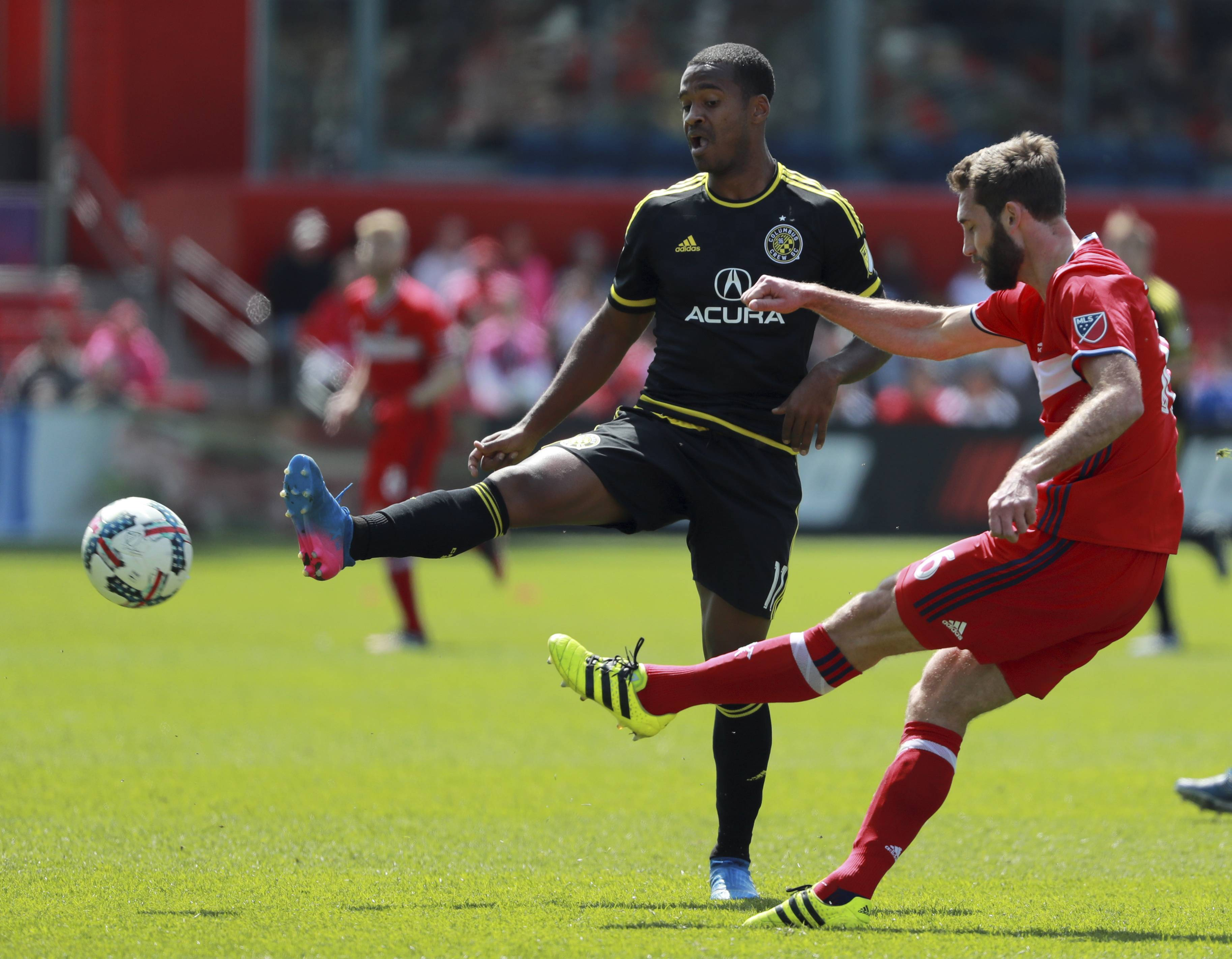 Chicago Fire central defender Jonathan Campbell, right, has made five starts this season, including the past two games. He'll be needed Saturday when the Fire hosts D.C. United.