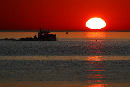 In this Wednesday, Sept. 13, 2017, photo, a lobster fishing boat heads out to sea at sunrise off Portland, Maine. Scientists say the Gulf of Maine, which stretches from Massachusetts to Nova Scotia, is warming faster than almost all of Earth's waters. (AP Photo/Robert F. Bukaty)