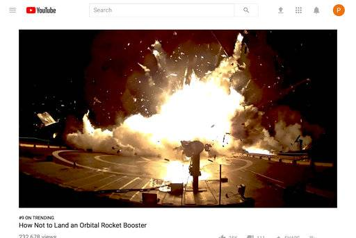 This image from a video posted on YouTube by SpaceX on Sept. 14, 2017 shows one of the unsuccessful landings of the company's orbital rocket boosters. SpaceX chief Elon Musk can afford to poke fun at his early, pioneering efforts at rocket recycling, now that his private company has pulled off 16 successful booster landings. The most recent occurred in early September 2017 in Florida. (SpaceX via AP)