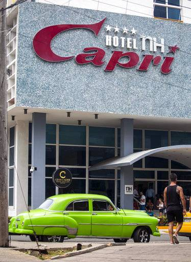 "In this Sept. 12, 2017, photo, the Hotel Capri in Havana, Cuba. New details about a string of mysterious ""health attacks� on U.S. diplomats in Cuba indicate the incidents were narrowly confined within specific rooms or parts of rooms. Aside from their homes, officials said Americans were attacked in at least one hotel, the recently renovated Hotel Capri, steps from the Malecon, Havana's iconic, waterside promenade."