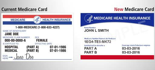 This image provided by the Centers for Medicare & Medicaid Services shows what the new Medicare card, right, will look like, compared to the current one at left. The cards are getting a makeover to fight identity theft. No more Social Security numbers will be placed on the card. Next April, Medicare will begin mailing every beneficiary a new card with a unique new number to identify them. (Centers for Medicare & Medicaid Services via AP)