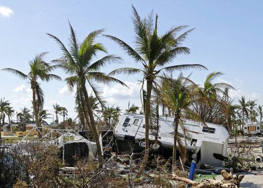 An overturned trailer is shown in a trailer park in the aftermath of Hurricane Irma, Wednesday, Sept. 13, 2017, in north Bahia Honda Key, Fla.