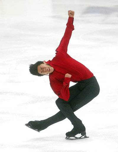 United States' Nathan Chen competes during in the men's short program at the U.S. International Figure Skating Classic in Salt Lake City, Thursday, Sept. 14, 2017. (AP Photo/Rick Bowmer)