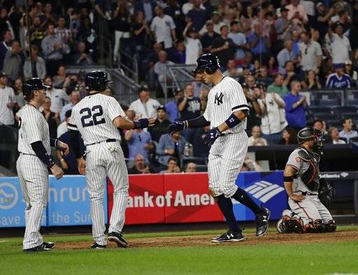 New York Yankees' Aaron Judge, right, celebrates his three-run home run with teammates Jacoby Ellsbury, center, and Clint Frazier as Baltimore Orioles catcher Welington Castillo kneels at the plate during the fourth inning of a baseball game Thursday, Sept. 14, 2017, in New York. (AP Photo/Frank Franklin II)