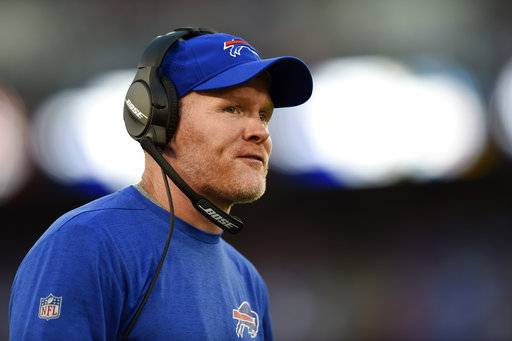 FILE - In this Saturday, Aug. 26, 2017 file photo, Buffalo Bills head coach Sean McDermott watches the first half of a preseason NFL football game against the Baltimore Ravens in Baltimore. Buffalo Bills coach Sean McDermott spent the past six seasons going up against Cam Newton daily in practice. So you'd expect the Bills first-year coach to know a thing or two about how to slow down the league's 2015 MVP, right? McDermott joked the problem is he won't be on the field. The Bills play the Panthers on Sunday, Sept. 17, 2017. (AP Photo/Gail Burton, File)