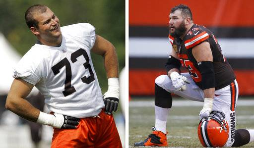 FILE - At left, in a July 27, 2007, file photo, Cleveland Browns offensive lineman Joe Thomas loosens up during football camp at the Cleveland Browns Training facility in Berea, Ohio. At right, in a Dec. 24, 2016, file photo, Browns' Joe Thomas looks on before an NFL football game against the San Diego Chargers in Cleveland. For more than 10 seasons, most of them miserable, Joe Thomas hasn't missed a single play for the Cleveland Browns. On Sunday, Sept. 17, 2017 in Baltimore, he'll reach 10,000 consecutive snaps, a testament to his durability and a mark that the 32-year-old Thomas has embraced on his way to one day being immortalized in the Hall of Fame.