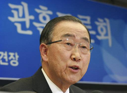 "FILE - In this Jan. 25, 2017, file photo, former U.N. Secretary-General Ban Ki-moon speaks during a debate in Seoul, South Korea. Former United Nations secretary general Ban Ki-moon has been elected chair of the International Olympic Committee's ethics commission. In his acceptance speech Thursday, Sept. 14, 2017, Ban called his new task ""a serious responsibility."""