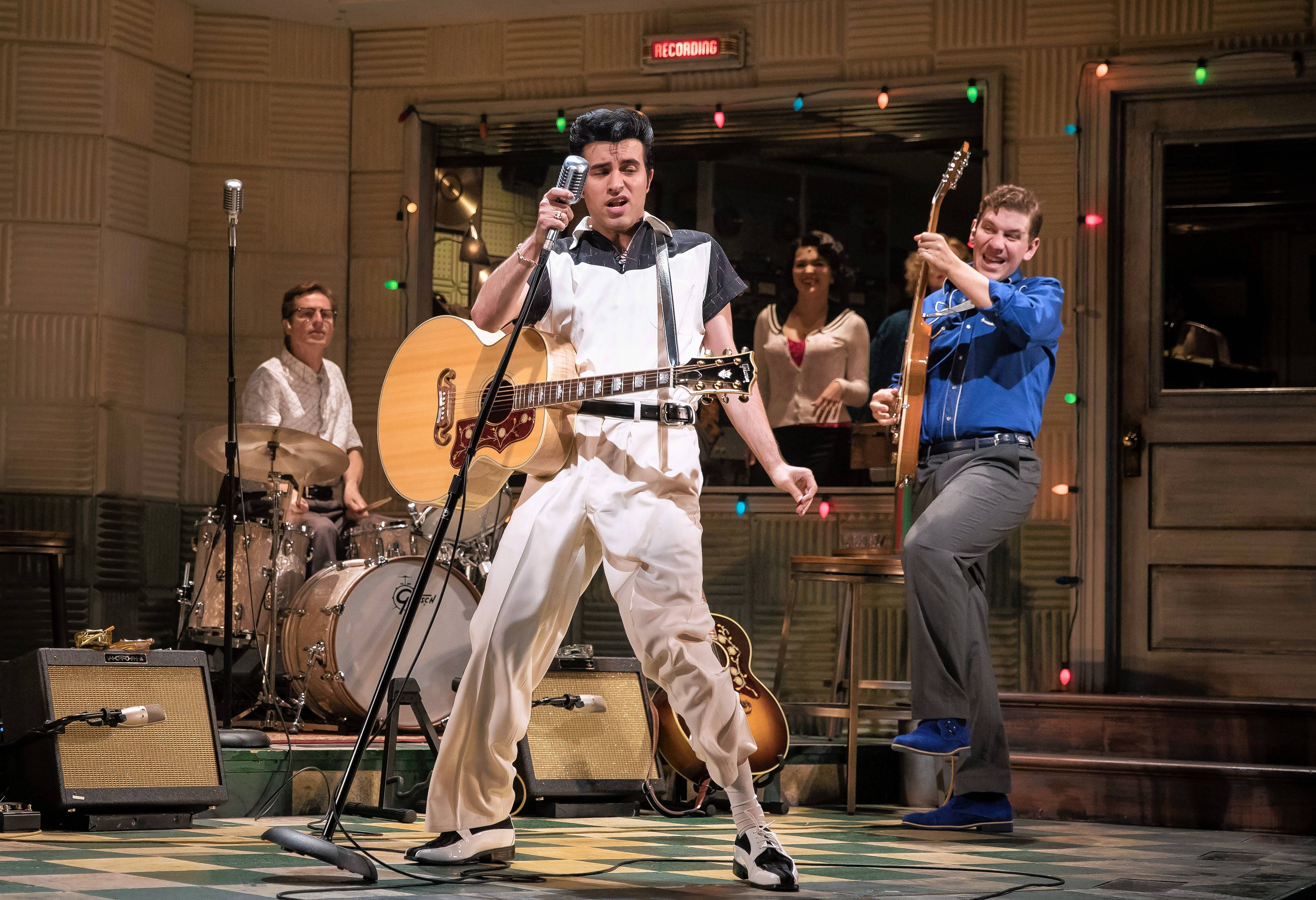 "Elvis Presley (Kavan Hashemian) belts out some of his biggest hits in Paramount Theatre's ""Million Dollar Quartet"" in Aurora."
