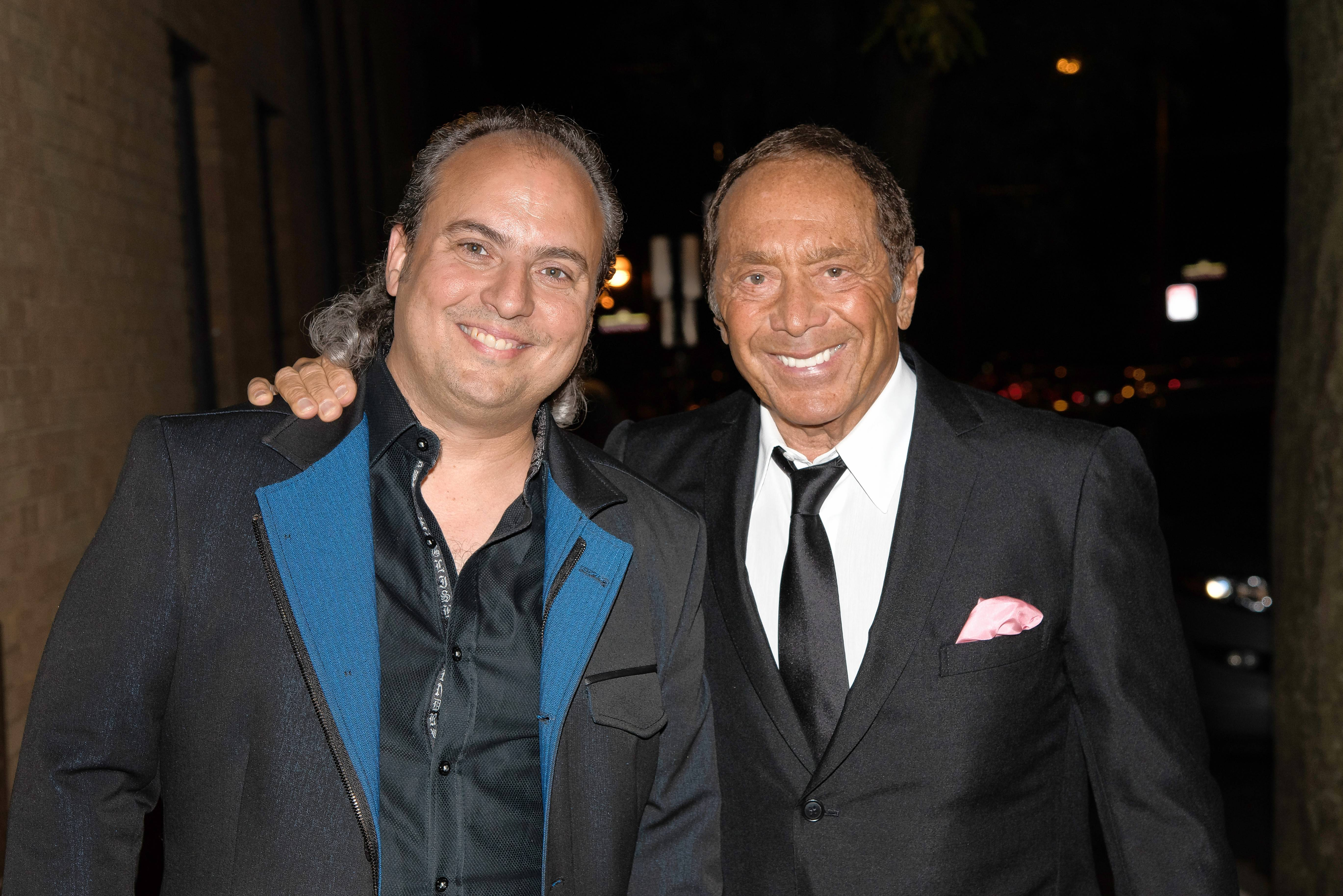 Singer Paul Anka, right, shares a moment with Arcada Theatre owner Ron Onesti before Anka's two shows last week.