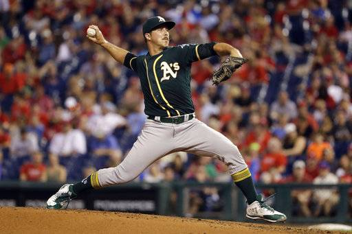 Oakland Athletics' Daniel Mengden pitches during the second inning of a baseball game against the Philadelphia Phillies, Friday, Sept. 15, 2017, in Philadelphia. (AP Photo/Matt Slocum)