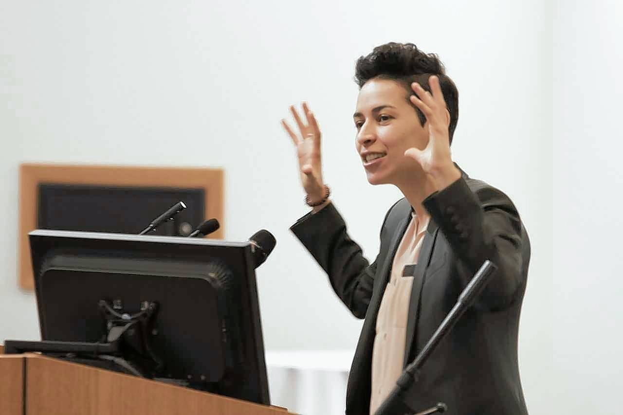 Denice Frohman, an award-winning poet, writer, educator, performer and speaker gave the keynote address to a crowd of 182 attendees during Friday's kickoff breakfast for Latinx Heritage Month at Elgin Community College.