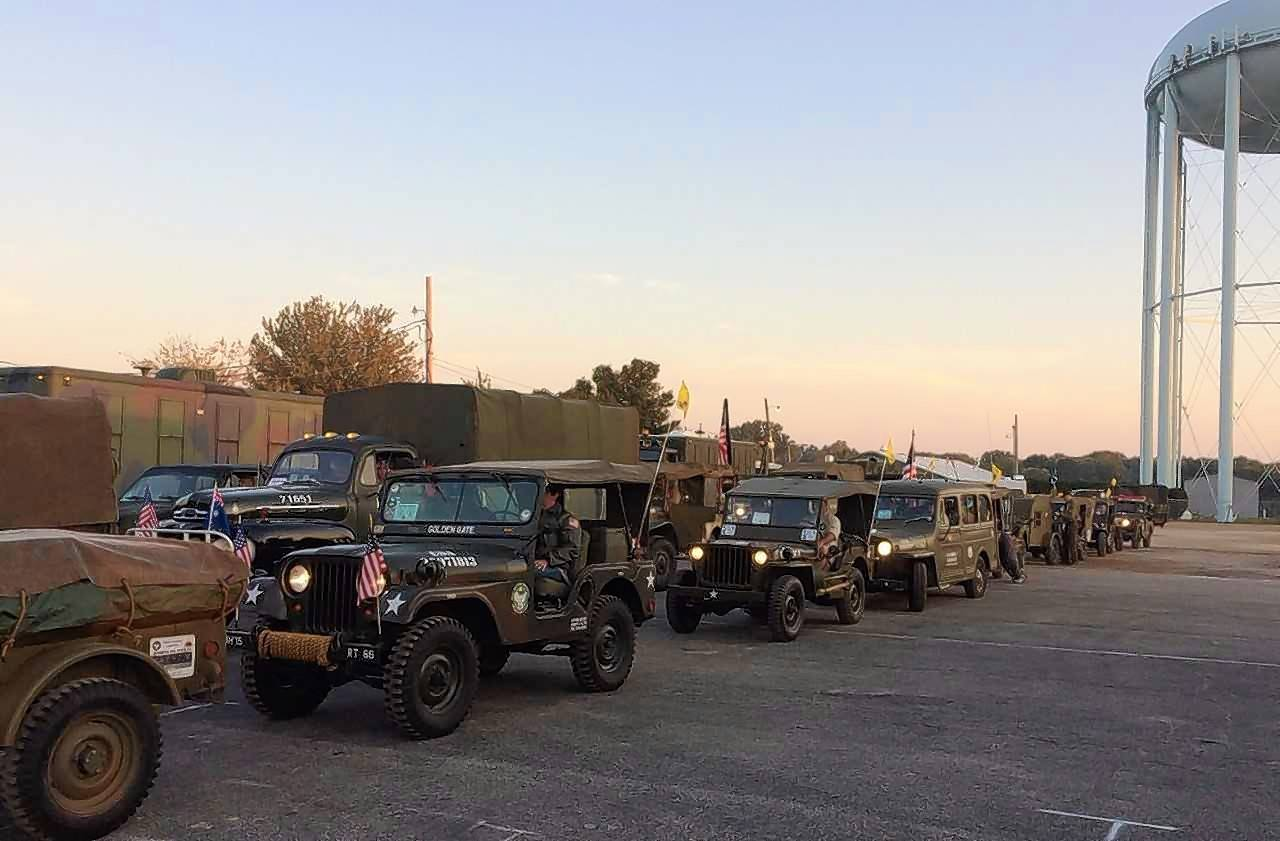 In line by sunrise Saturday at the DuPage County Fairgrounds in Wheaton, this convoy of 60 antique jeeps, trucks and motorcycles with the Military Vehicle Preservation Association began a 29-day cross-country trip along historic U.S. Route 66 to the ocean pier at Santa Monica. Calif.