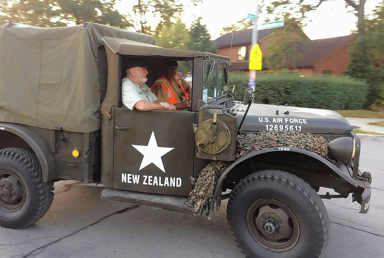 Among the 60 antique military vehicles taking part in the Military Vehicle Preservation Association's cross-country convoy is this Jeep manned by members from New Zealand.