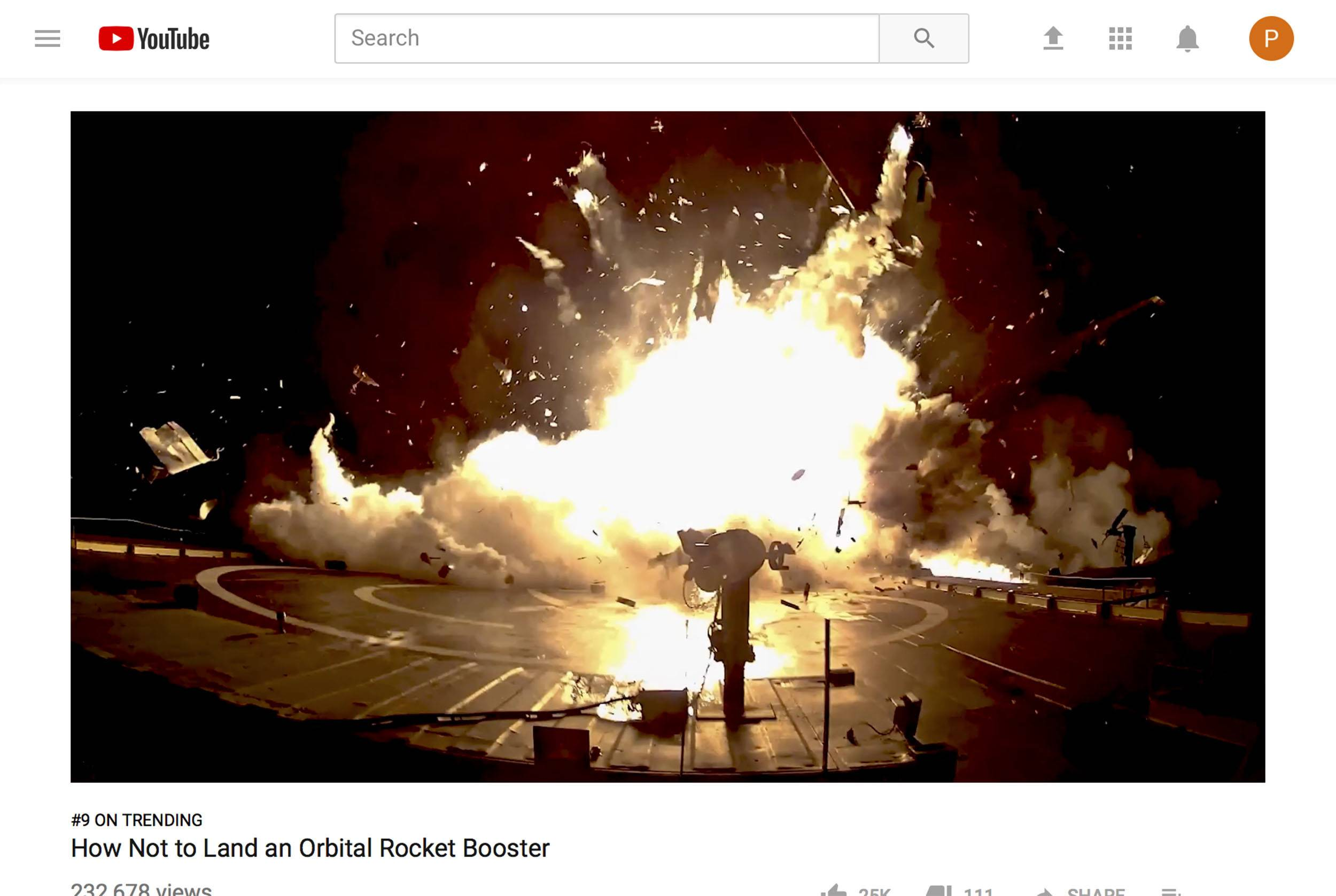 This image from a video posted on YouTube by SpaceX on Sept. 14, 2017 shows one of the unsuccessful landings of the company's orbital rocket boosters.