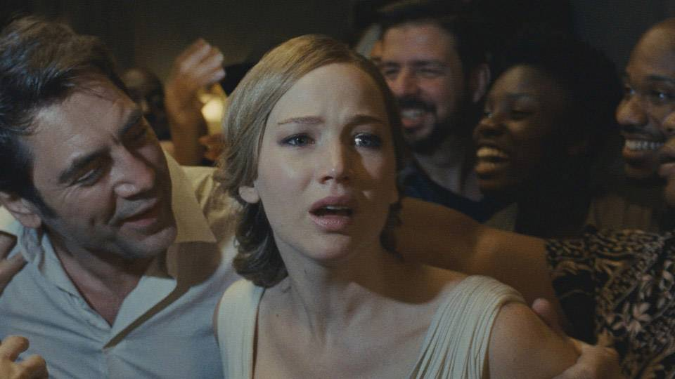 "Javier Bardem and Jennifer Lawrence in the bonkers climax of ""mother!"""