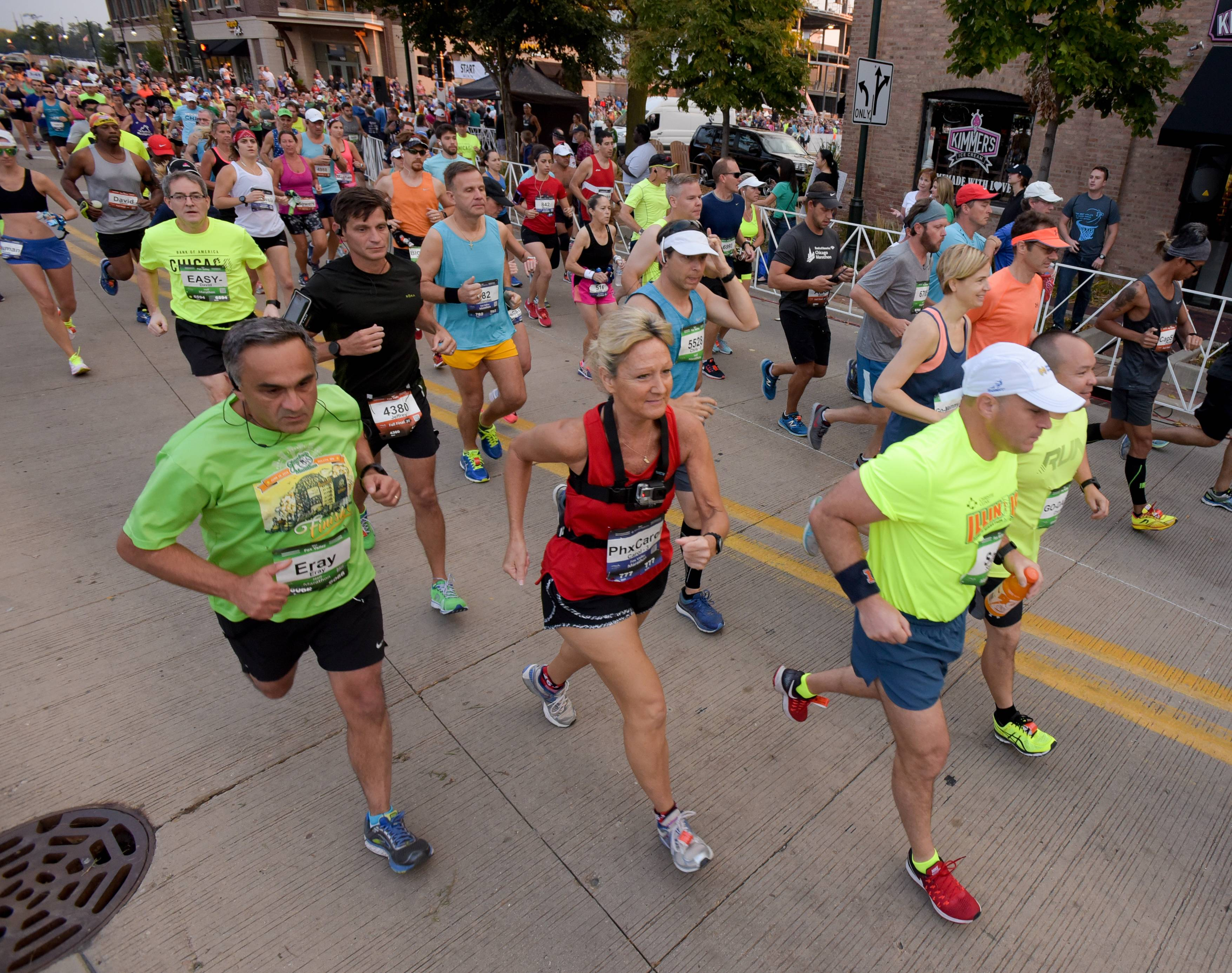 Runners in the eighth annual Fox Valley half marathon, Fall Final 20 and full marathon take off Sunday at the starting line in downtown St. Charles.