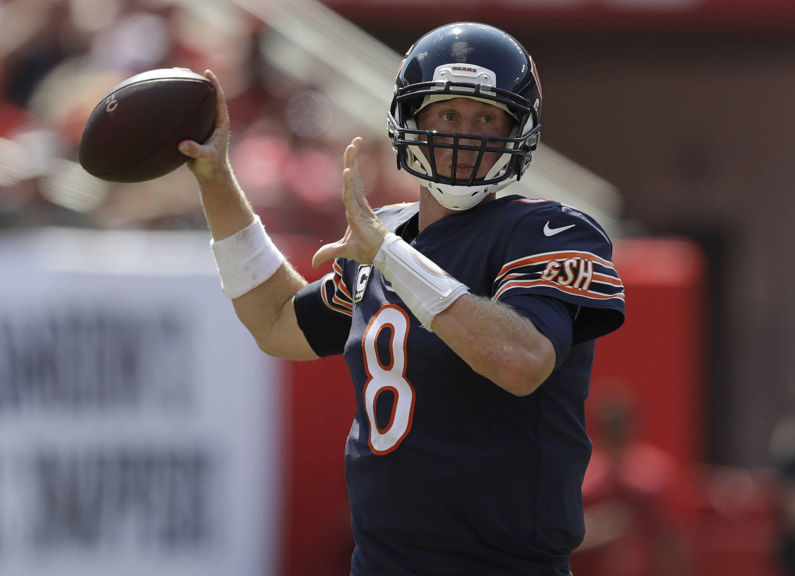 Chicago Bears quarterback Mike Glennon (8) looks to pass the ball, during the second half of an NFL football game against the Tampa Bay Buccaneers, Sunday, Sept. 17, 2017, in Tampa, Fla. (AP Photo/Chris O'Meara)