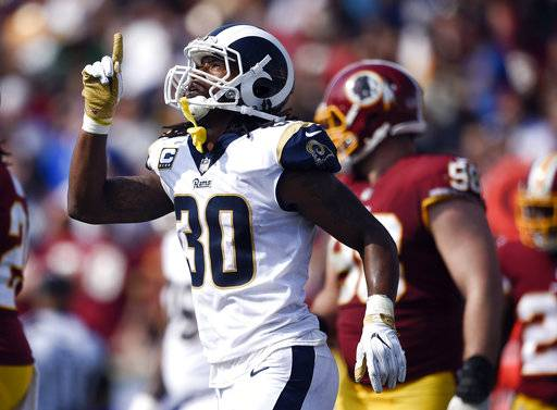 Los Angeles Rams running back Todd Gurley celebrates after scoring against the Washington Redskins during the second half of an NFL football game Sunday, Sept. 17, 2017, in Los Angeles. (AP Photo/Kelvin Kuo)